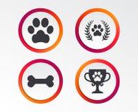 Pets icons. Dog paw sign. Winner laurel wreath. stock illustration
