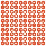 100 pets icons hexagon orange. 100 pets icons set in orange hexagon isolated vector illustration vector illustration