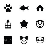 Pets icons 9 icons set. Isolated, black on white background Royalty Free Stock Photo