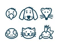 Pets icons set. Animals face, pets icons set, outlined vector illustration Royalty Free Stock Photos