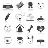 Pets icons set black Royalty Free Stock Photos