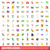 100 pets icons set, cartoon style Royalty Free Stock Photo
