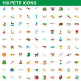 100 pets icons set, cartoon style. 100 pets icons set in cartoon style for any design vector illustration Royalty Free Stock Images