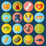 Pets icons set. With cat dog fish rabbit isolated vector illustration Royalty Free Stock Image