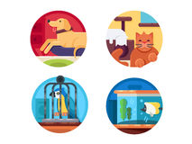 Pets icons set. Pets set. Cat and dog, parrot and fish. Vector illustration. Pixel perfect icons size - 128 px Stock Photos