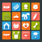 Pets Icons Set Flat. With animal food toy isolated vector illustration Royalty Free Stock Image