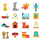 Pets Icons Set Stock Photography