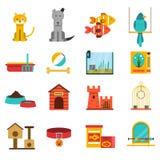 Pets Icons Set Stock Photography