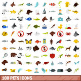 100 pets icons set, flat style Stock Photos