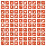 100 pets icons set grunge orange. 100 pets icons set in grunge style orange color isolated on white background vector illustration royalty free illustration