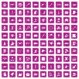 100 pets icons set grunge pink. 100 pets icons set in grunge style pink color isolated on white background vector illustration Stock Photo