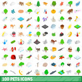 100 pets icons set, isometric 3d style Stock Photo