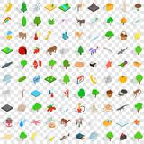 100 pets icons set, isometric 3d style Royalty Free Stock Images