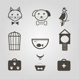Pets icons. Set of mono symbols for pets shop. Vector illustration Stock Photo