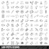 100 pets icons set, outline style Royalty Free Stock Photo