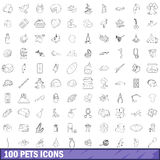 100 pets icons set, outline style. 100 pets icons set in outline style for any design vector illustration Stock Photography