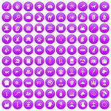 100 pets icons set purple. 100 pets icons set in purple circle isolated on white vector illustration vector illustration