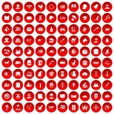 100 pets icons set red. 100 pets icons set in red circle isolated on white vector illustration Vector Illustration