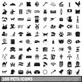 100 pets icons set, simple style. 100 pets icons set in simple style for any design vector illustration Stock Photography