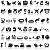 Pets icons set. On a white background with a shadow royalty free illustration