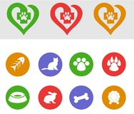 Pets icons Royalty Free Stock Photos