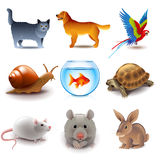 Pets icons vector set Stock Photo