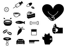 Pets items. Set of various items for pets and symbols vector illustration