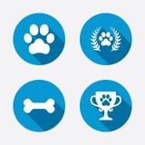 Pets le icone Segno della zampa del cane Corona dell'alloro del vincitore illustrazione vettoriale