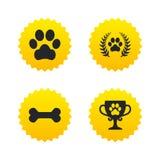 Pets le icone Segno della zampa del cane Corona dell'alloro del vincitore illustrazione di stock