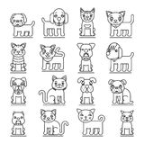 Pets line icons. Dogs and cats outline signs vector Stock Image