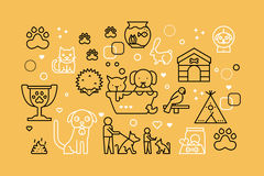 Pets line icons illustration. Design in modern style with related icons ornament concept forwebsite, app, web banner Stock Image