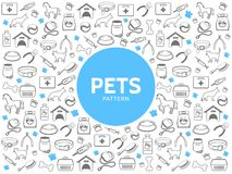 Pets Line Icons Pattern Royalty Free Stock Photo