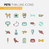 Pets Linear Thin Line Icons Set with Dog Cat Bird and Fish Royalty Free Stock Images