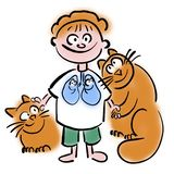 Pets and lung diseases in children vector illustration