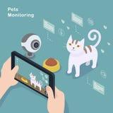 Pets monitoring concept. 3d isometric flat design - Pets monitoring concept Stock Photos