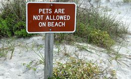 Pets not allowed on beach sign Royalty Free Stock Photography
