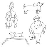 Pets, owner, veterinarian and dog training. Vector. stock illustration