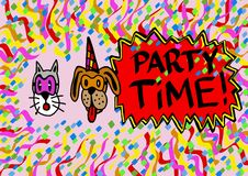 Pets party time Royalty Free Stock Images