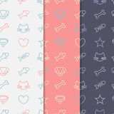 Pets  pattern set. Seamless pattern set with pets line icons. Vector backgrounds Stock Photo