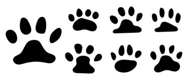 Pets paw footprint. Cat paws prints, kitten foots or dog foot print. Pet rescue logo puppy footprint marks animal shape. Wildlife mark dirty isolated vector stock illustration