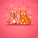 Pets on pink background Royalty Free Stock Images