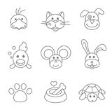 Pets related icon set in thin line style. Pets related icon set in thin line  style. Mouse and fish, food for pet, kennel and bone, parrot and dog outline Royalty Free Stock Photography