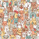 Pets seamless pattern. Hand drawn seamless pattern with cute pets: dogs, cats, birds, bunnies, hamster royalty free illustration