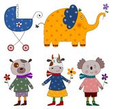 Pets. Set of decorative elements. Colorful graphic illustration for children Royalty Free Stock Photos