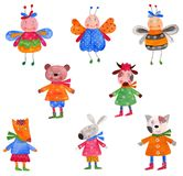 Pets. Set of decorative elements. Watercolours on paper. Illustration for children Royalty Free Stock Photo