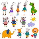 Pets. Set of decorative elements. Colorful graphic illustration for children Stock Image