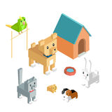 Pets Set Icon Isometric 3d Design Royalty Free Stock Images