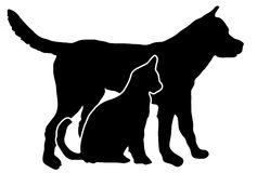 Pets shadow. Dog and cat black color cut shadow Stock Photography