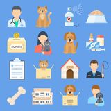 Pets shelter icon set. Temporary home for dogs, cats, and other animals offered for adoption, place for sick or wounded pets. Vector flat style cartoon stock illustration
