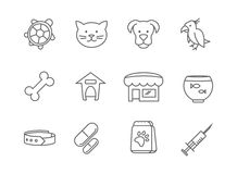 Pets shop and clinic line vector icons Stock Photo